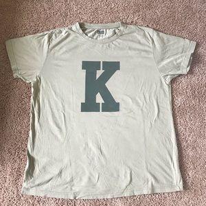 """tan kith """"k"""" logo t-shirt"""